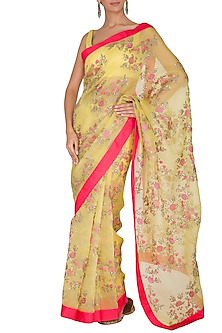 Yellow Embroidered Saree Set With Belt by Ranian