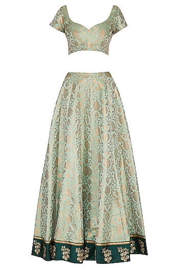 Mint Green & Gold Embroidered Lehenga Set by Ranian
