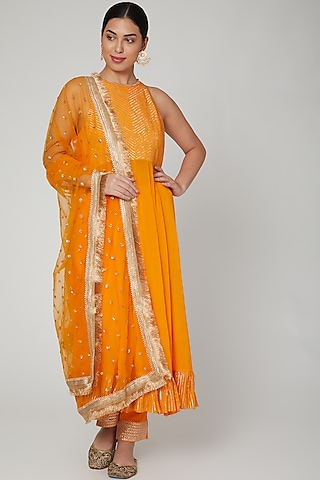 Marigold Embroidered Anarkali Set by Ranian