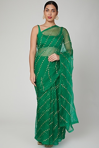 Forrest Green Embroidered Saree Set  by Ranian