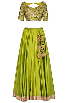 Green Embroidered Lehenga Set by Ranian