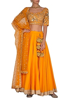 Orange Embroidered Lehenga Set by Ranian