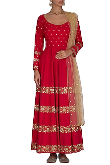 Red Embroidered Anarkali With Dupatta by Ranian