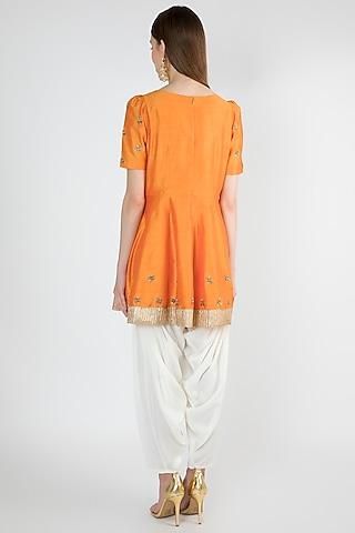 Orange Peplum Kurta Set by Ranian