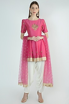 Rose Pink Peplum Kurta Set by Ranian