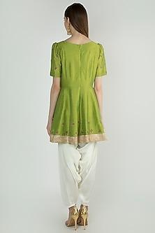 Green Peplum Kurta Set by Ranian