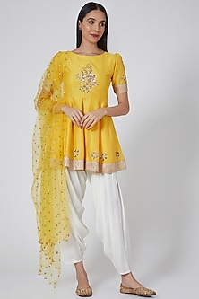 Yellow Peplum Kurta Set by Ranian