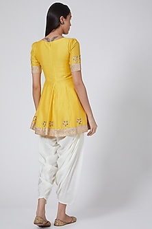 Yellow Peplum Kurta Set by Ranian