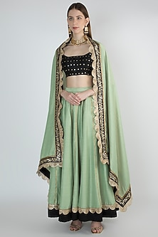 Leaf Green Embroidered Lehenga Set by Ranian