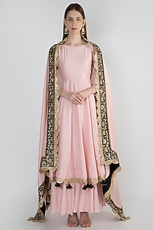 Blush Pink Embroidred Anarkali Set by Ranian