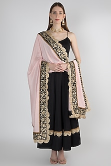 Black Anarkali Kurta With Powder Pink Embroidered Dupatta by Ranian