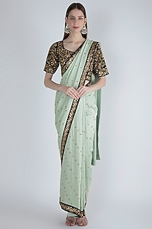 Mint Green Embroidered Saree Set by Ranian