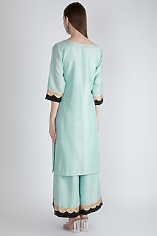 Sky Blue Embroidered Kurta Set by Ranian