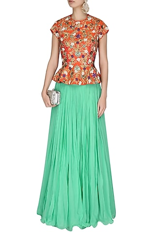 Coral Jaal Embroidered Peplum Top With Sea Green Pleated Skirt by 1600 AD NAISHA NAGPAL