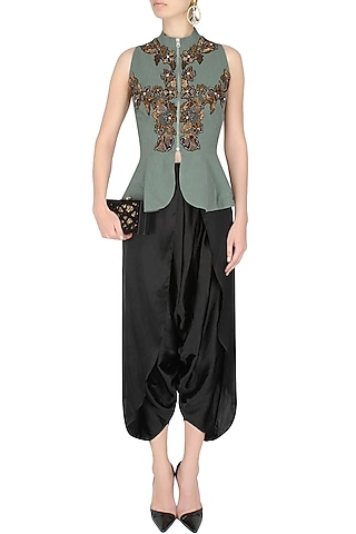 Grey Peplum Jacket With Black Draped Dhoti Pants by 1600 AD NAISHA NAGPAL