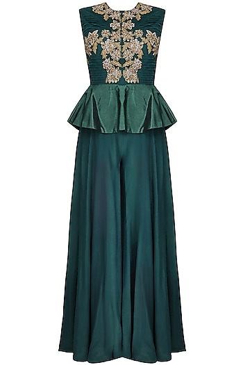 Teal Floral Motifs Embroidered Peplum Jumpsuit by 1600 AD NAISHA NAGPAL