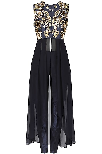 Blue Front Open Jacket With Blue Straight Pants by 1600 AD NAISHA NAGPAL