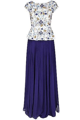 White Embroidered Peplum Top With Ink Blue Gathered Skirt by 1600 AD NAISHA NAGPAL