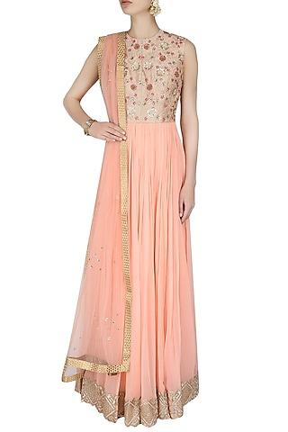 Powder Pink Embroidered Floor Length Suit With Blush Pink Churidaar Pants by 1600 AD NAISHA NAGPAL