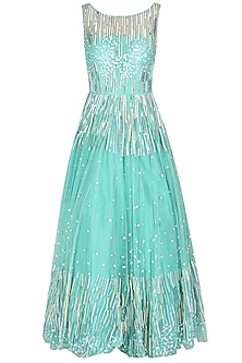 Sea Green Floor Length Embellished Gown by 1600 AD NAISHA NAGPAL
