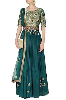 Bottle Green Embroidered Floor Length Suit With Green Churidaar Pants by 1600 AD NAISHA NAGPAL