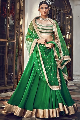 Forrest Green Embroidered Lehenga Set by Ranian