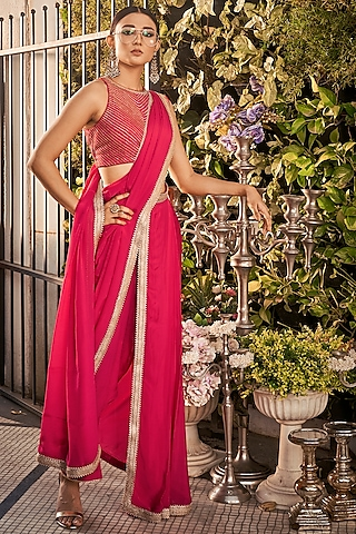 Raspberry Embroidered Saree Set by Ranian