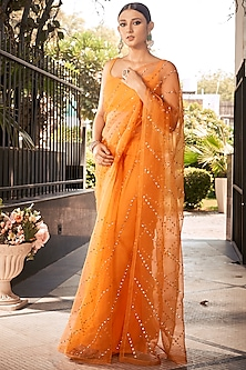 Orange Embroidered Saree Set  by Ranian