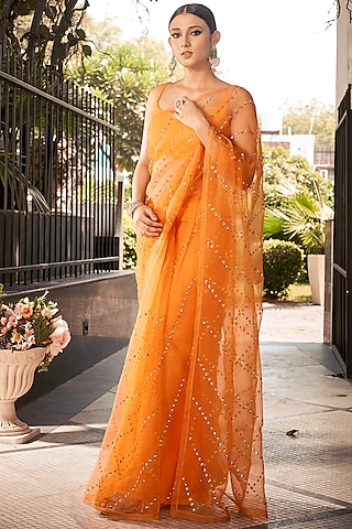 Orange Embroidered Saree Set  by Ranian