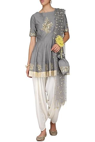 Grey Embroidered Peplum Kurta with Ivory Dhoti Pants Set by Ranian