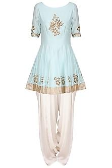 Powder Blue Embroidered Peplum Kurta with Ivory Dhoti Pants Set by Ranian