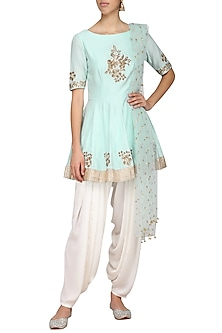 Powder Blue Embroidered Peplum Kurta with Ivory Dhoti Pants Set by Ranian