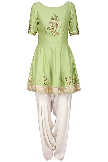 Olive Green Embroidered Peplum Kurta with Ivory Dhoti Pants Set by Ranian