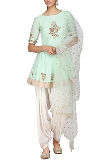 Mint Green Embroidered Peplum Kurta with Ivory Dhoti Pants Set by Ranian