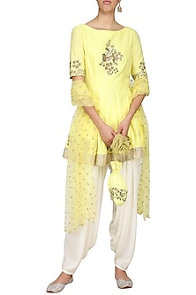 Yellow Embroidered Peplum Kurta with Ivory Dhoti Pants Set by Ranian