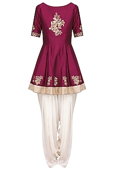 Wine Embroidered Peplum Kurta with Ivory Dhoti Pants Set by Ranian