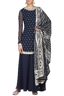Navy Blue Embroidered Kurta with Sharara Pants Set by Ranian