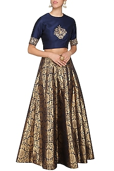 Navy Blue Embroidered Crop Top with Brocade Skirt by Ranian