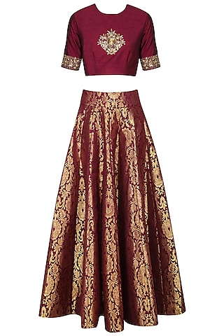 Maroon Embroidered Crop Top with Brocade Skirt by Ranian