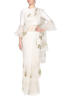Ivory Rose Embroidered Saree with Blouse by Ranian