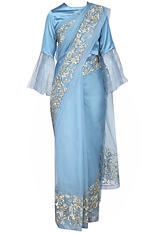 Blue Embroidered Saree with Blouse by Ranian