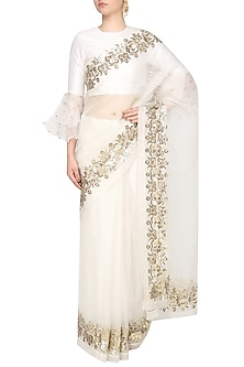 Ivory Embroidered Saree with Blouse by Ranian