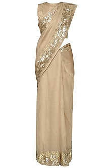 Gold Embroidered Saree with Blouse by Ranian