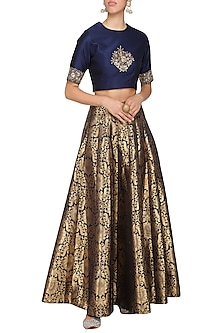 Black embroidered crop top with lehenga skirt by Ranian