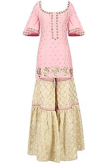 Blush Pink Embroidered Short Kurta with Gharara Set by Ranian