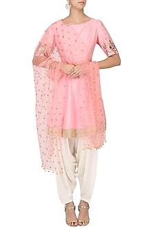 Blush Pink Embroidered Peplum Kurta with Dhoti Salwar Set by Ranian