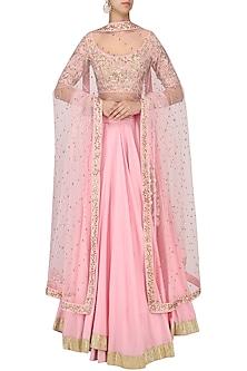 Pink Embroidered Lehenga Set by Ranian