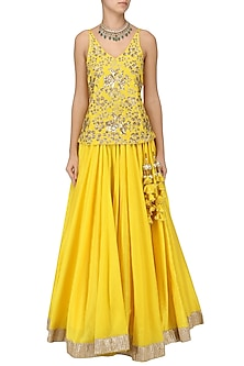 Sunflower Yellow Embroidered Top with Lehenga Set by Ranian