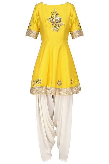 Sunflower Yellow Embroidered Peplum Kurta with Dhoti Salwar Set by Ranian