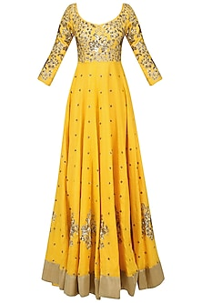 Ochre Yellow Embroidered Anarkali Set by Ranian